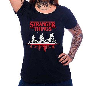 Camiseta Feminina -Stanger Things Upsidedown - Preta - G