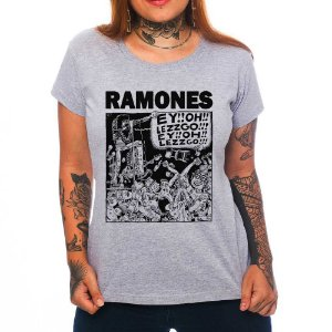 Camiseta Feminina - Ramones - Cinza - P