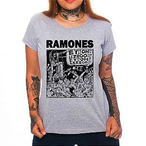 Camiseta Feminina - Ramones - Cinza - GG