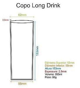 50 Copos long drink Acrílico 350ml [SEM GRAVAÇÃO]