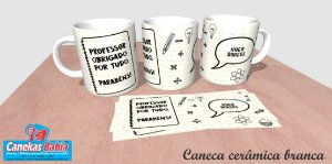 Caneca Cerâmica branca Personalizada 300ML