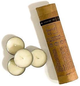 Blend Art Vela Vegetal Sem Parafina e Sem Perfume - Kit Mini Rechaud c/ 10un