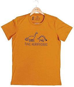 Agora Sou ECO Camiseta 100% Algodão Orgânico - Herbívoros - Mostarda 1un