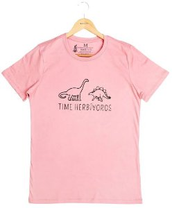 Agora Sou ECO Camiseta 100% Algodão Orgânico - Herbívoros - Rosa 1un
