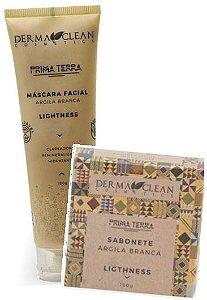 Derma Clean Kit Lightness Argila Branca - Máscara Facial + Sabonete em Barra