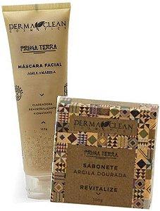 Derma Clean Kit Revitalize Argila Dourada - Máscara Facial + Sabonete em Barra