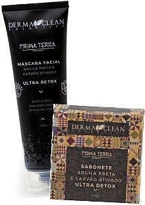 Derma Clean Kit Ultra Detox Argila Preta e Carvão Ativado - Máscara Facial + Sabonete em Barra