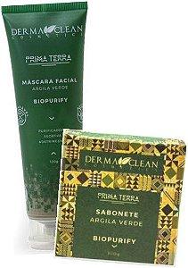 Derma Clean Kit Biopurify Argila Verde - Máscara Facial + Sabonete em Barra