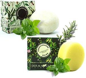 Derma Clean Kit Shampoo Sólido Limpeza Profunda + Condicionador em Barra Hidratação Suave