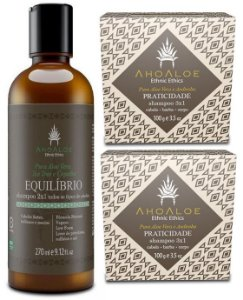 AhoAloe Kit Shampoo 2x1 Equilíbrio + Shampoo Sólido 3x1 Praticidade 3un