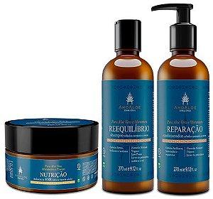AhoAloe Kit Máscara Capilar Nutrição + Shampoo Reequilíbrio + Condicionador Reparação 3un