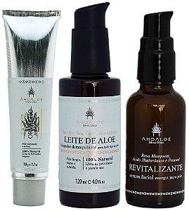 AhoAloe Kit Hidratante Facial Orvalho + Sérum Facial Revitalizante + Leite de Aloe 3un