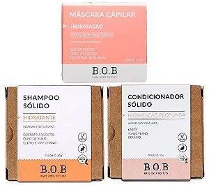 BOB Kit Shampoo Sólido Hidratante + Condicionador Sólido Hidratação Profunda + Máscara Capilar em Barra Hidratação
