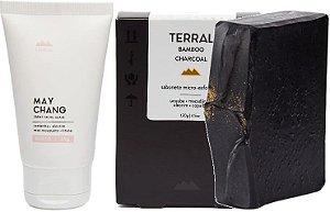 Terral Natural Kit Pele Oleosa - Creme Facial May Chang + Sabonete Esfoliante Carvão Ativado Bamboo