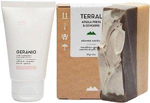 Terral Natural Kit Pele Normal - Creme Facial Gerânio + Sabonete Argila Preta e Gengibre