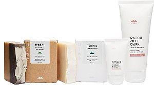Terral Natural Kit Pele Normal - Creme Corporal Patchouli Dark + Creme Facial Gerânio + Sabonetes de Argila Preta e de Limão Siciliano