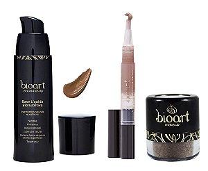 Bioart Kit Base Escura + Corretivo Escuro + Pó Facial Escuro