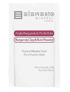 Elemento Mineral Argila Burgundy e Pó de Rubi Máscara Facial 30g