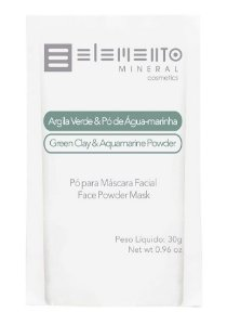 Elemento Mineral Argila Verde e Pó de Água Marinha Máscara Facial 30g