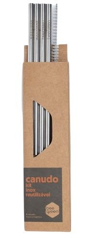 Beegreen Kit 4 Canudos Reutilizáveis de Inox Shake Retos + Escova de Limpeza