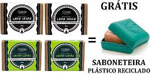 Cativa Natureza Kit 4 Sabonetes Antissépticos (Lama Negra e Capim Limão) + 1 Saboneteira
