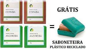 Cativa Natureza Kit 4 Sabonetes Anti-inflamatórios (Copaíba e Andiroba) + 1 Saboneteira