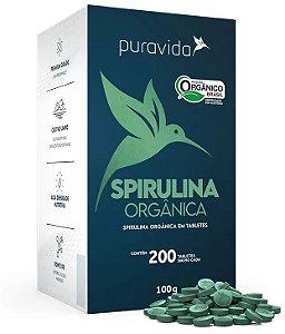 Puravida Spirulina Orgânica 200 Tabletes Veganos