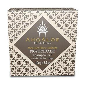 AhoAloe Shampoo Sólido 3x1 Praticidade Aloe Vera e Andiroba 100g
