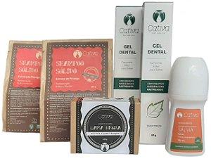 Cativa Natureza Kit Cuidados Essenciais (Shampoo Sólido + Sabonete + Gel Dental + Desodorante) 6un