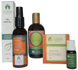 Cativa Natureza Kit Antisséptico (Sabonetes + Gel Dental + Desodorante + Óleo Essencial) 5un