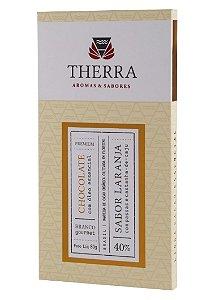 Therra Chocolate Branco Gourmet 40% Sabor Laranja com Passas e Castanha de Caju 80g