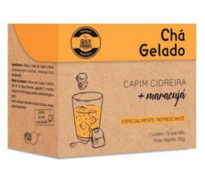 QLY Ervas Chá Gelado Capim Cidreira com Maracujá Caixa 15 Sachês