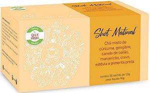 QLY Ervas Shot Matinal em Sachê de Chá com Cúrcuma, Gengibre, Canela e Manjericão