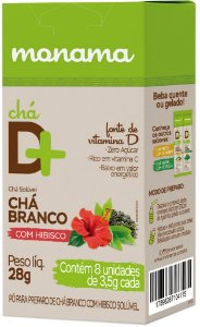 Monama Chá Solúvel D+ com Vitamina D, Chá Branco e Hibisco em Sachê