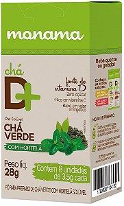 Monama Chá Solúvel D+ com Vitamina D, Chá Verde e Hortelã em Sachê