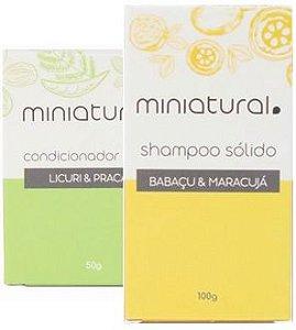 Miniatural Kit Shampoo Sólido Babaçu e Maracujá + Condicionador em Barra