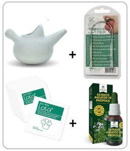 Lota Kit Higienizador Nasal + Raspador de Língua + Sal + Própolis
