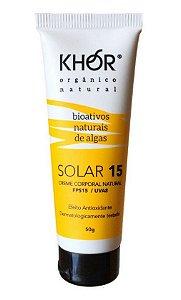 Khor Protetor Solar Facial Natural e Vegano FPS 15 UVA/UVB 50g