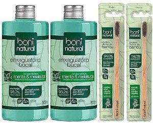 Boni Natural Kit Higiene Bucal - Enxaguatório + Escova de Dente 4un