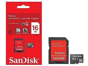 Cartão Micro Sdhc Sandisk 16gb e Adaptador SDSDQM-016G-B35A