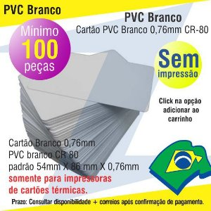 100 Cartões PVC Brancos