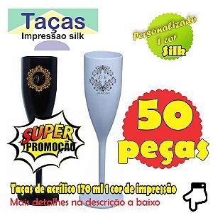 50 Taças Plastica 1 cor de Impressão