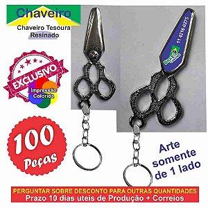 100 Chaveiros Tesoura resinado argola e cordão