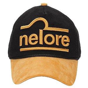 Boné Nelore - Preto C/ Aba de couro Dourado