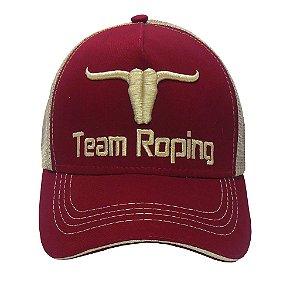 Boné Team Roping - Vinho C/ Bege
