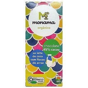 Chocolate Orgânico 45% Cacau ao Leite de Coco com Flocos de Arroz - Monama - 60g