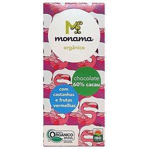 Chocolate Orgânico 60% Cacau com Castanhas e Frutas Vermelhas - Monama - 60g