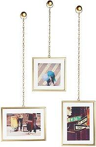 Conjunto com 3 Porta Retratos Fotochain Bronze Fosco - Umbra