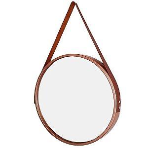 Espelho Suspenso Adnet FWB 45cm Moldura e Alça Caramelo