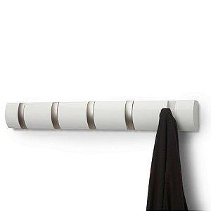 Cabideiro de Parede 5 Ganchos Retráteis Flip Branco - Umbra